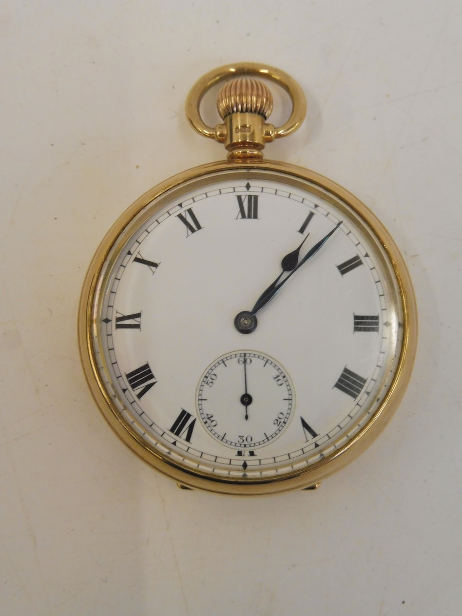 Lot 38 - A 9ct gold gentleman's pocket watch with secondary dial and internal inscription.