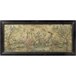 Lot 111 - A needlework picture, worked in wool with some raised work, depicting a shepherd and shepherdess