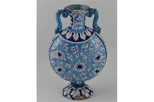 An Iznik Style Pottery Two Handled Moon Flask Vase The Turquoise