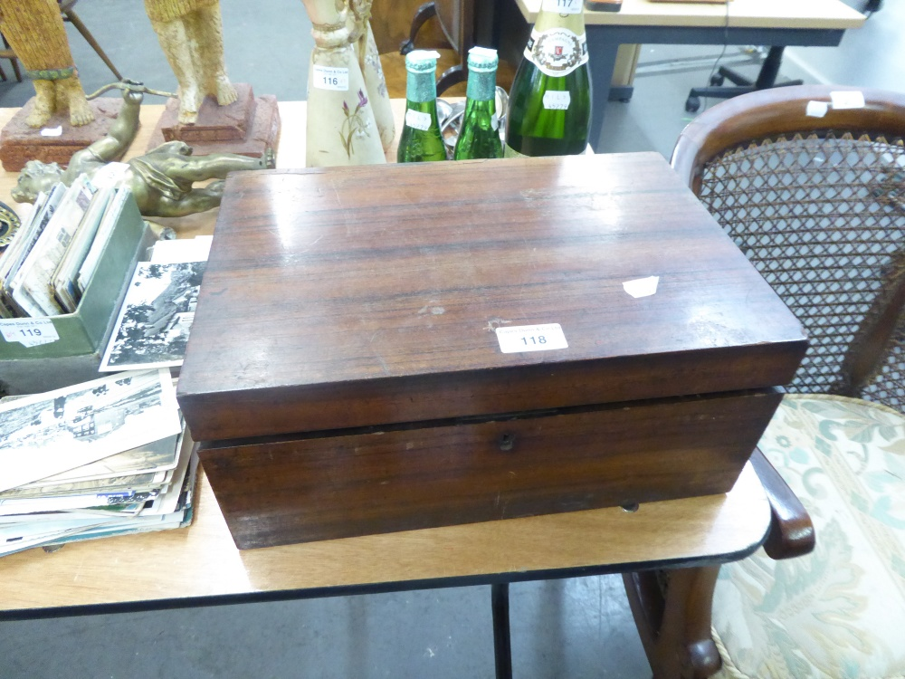 Lot 118 - A NINETEENTH CENTURY ROSEWOOD PORTABLE WRITING BOX (LACKS INTERIOR)