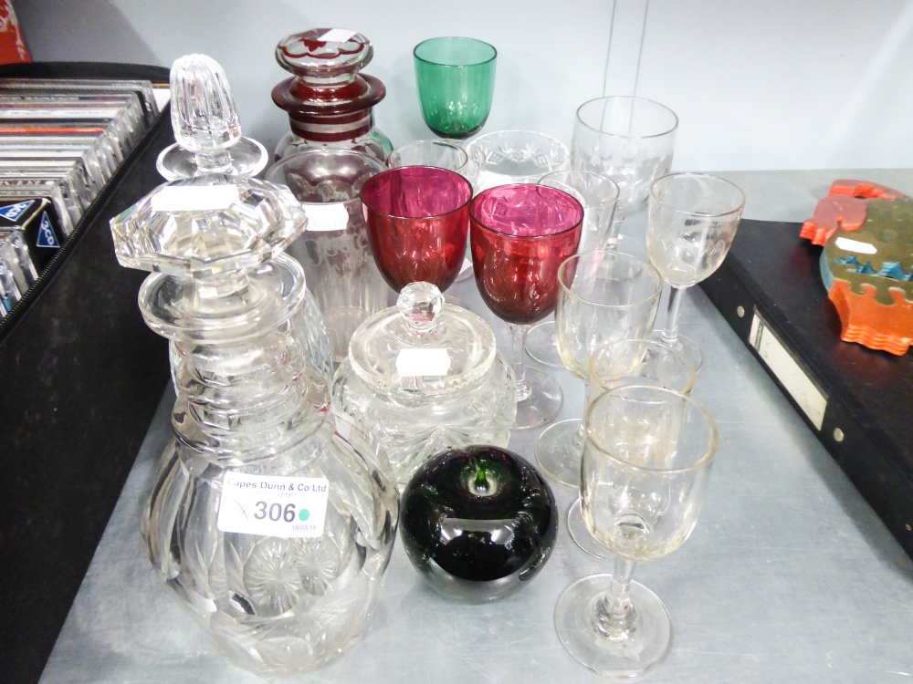 Lot 306 - GLASS- GEORGIAN STYLE SMALL DECANTER AND STOPPER WITH TRIPLE RING NECK, ANOTHER, JAR AND COVER,