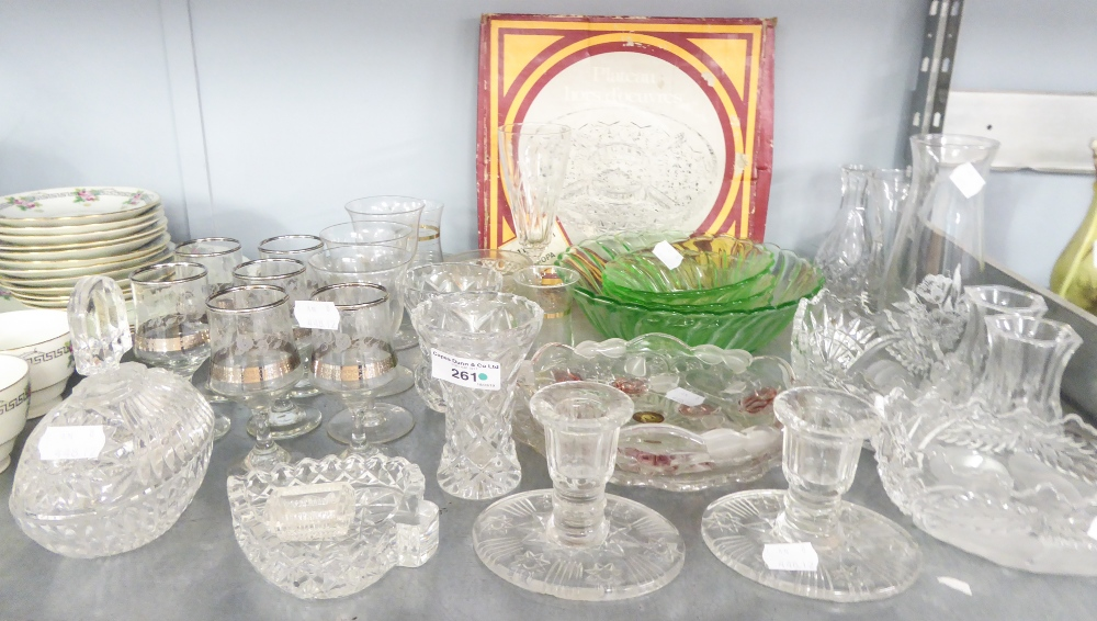 Lot 261 - A COLLECTION OF CUT GLASS ITEMS TO INCLUDE; SMALL VASES, BON BON DISHES, DISHES ETC.....