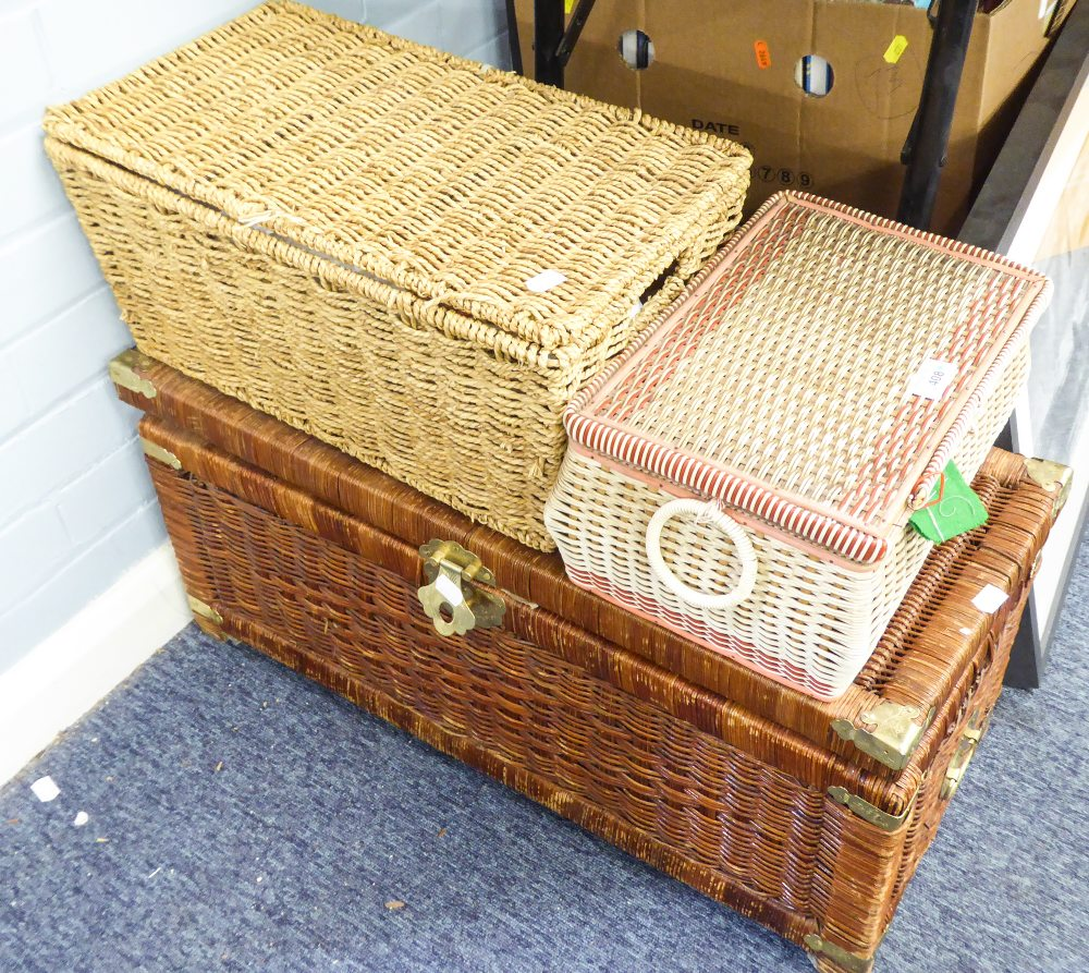 Lot 408 - A LARGE WICKER BASKET AND TWO SMALLER WICKER BASKET TO INCLUDE; A QUANTITY OF SEWING MACHINES