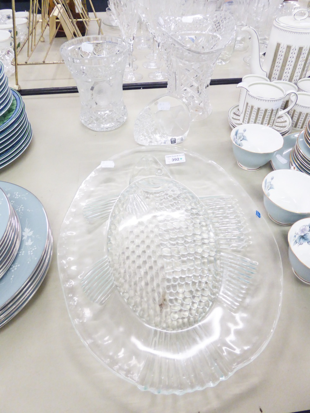 Lot 392 - A HEAVY CUT CRYSTAL VASE WITH ETCHED FRUIT DETAIL AND ANOTHER, PAPERWEIGHT AND A GLASS PLATE (4)