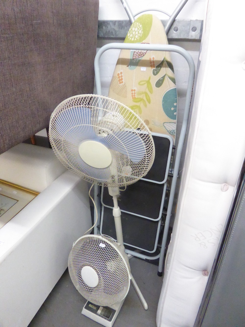 Lot 96 - FLOOR STANDING ELECTRIC FAN, TABLE TOP ELECTRIC FAN, AN IRONING BOARD AND A SMALL SET OF STEPS (4)