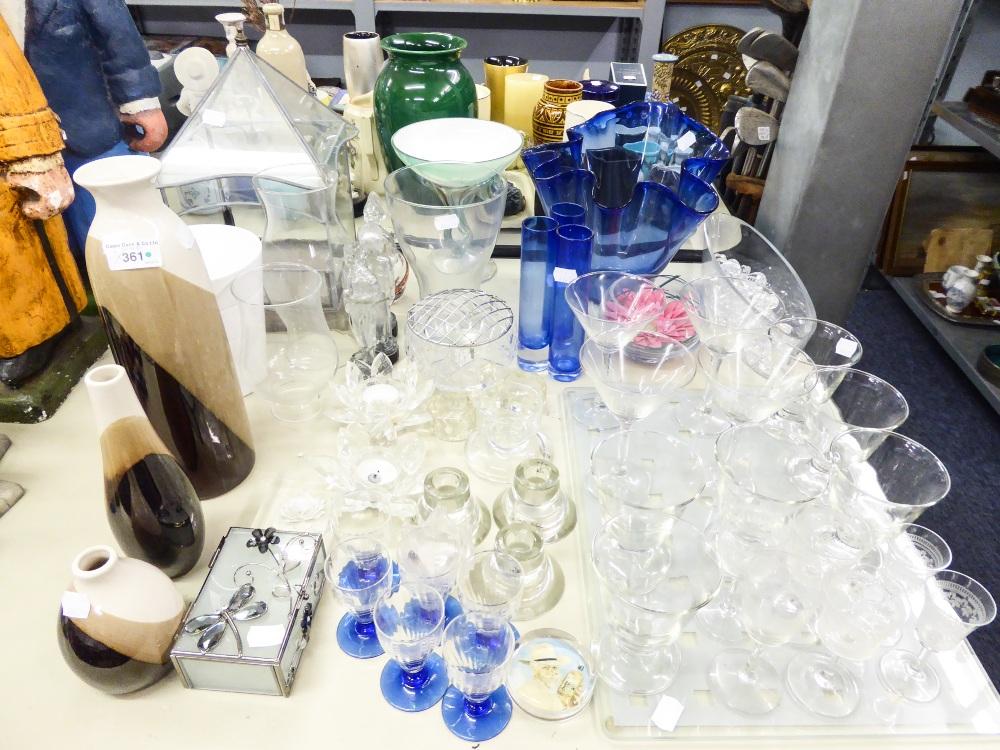 Lot 361 - QUANTITY OF GLASSWARES TO INCLUDE; HANDKERCHIEF VASE, CANDLE HOLDERS ETC....