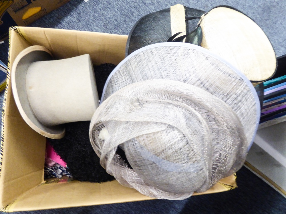 Lot 340 - A QUANTITY OF LADIES GLOVES AND HEADSCARVES AND THREE HATS