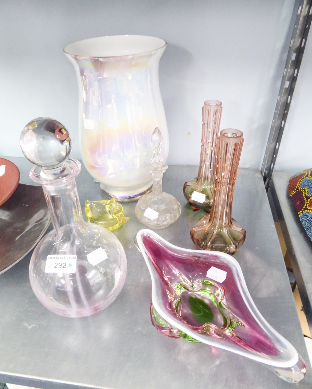 Lot 292 - SEVEN PIECES OF COLOURED GLASS, TO INCLUDE; DECANTER, TWO FLOWER VASES, LARGE VASES ETC....
