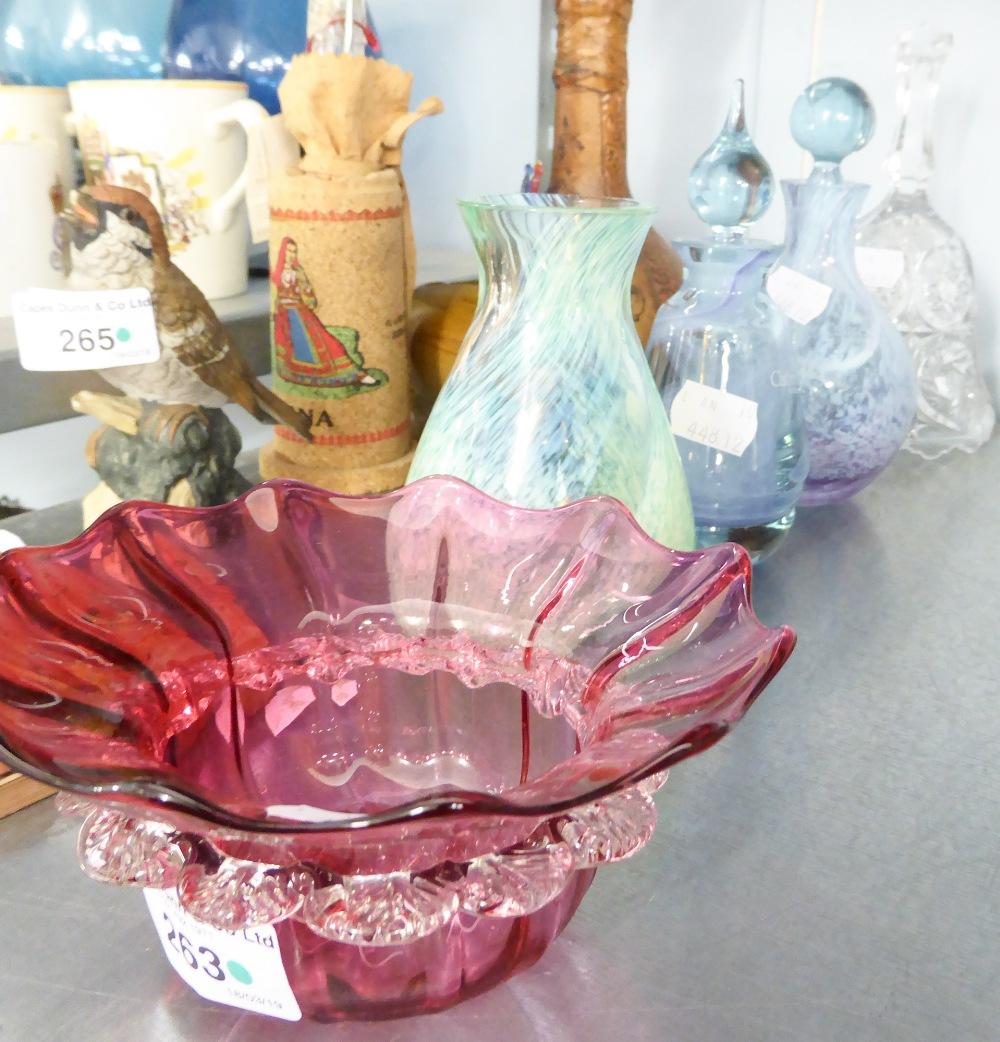 Lot 263 - A BUD VASE; A CRANBERRY GLASS DISH; A CUT GLASS HAND BELL; A CAITHNESS HAND BLOWN SMALL BOTTLE