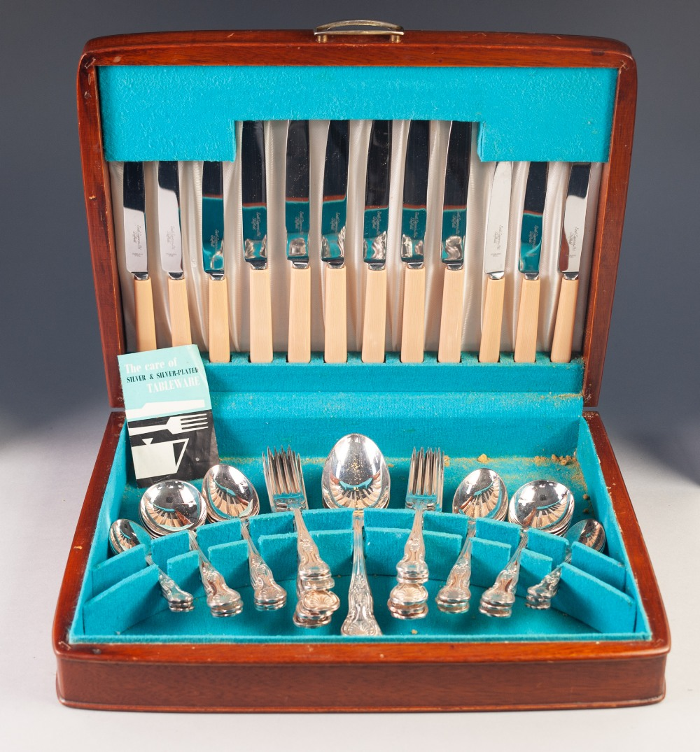 Lot 286 - FORTY FOUR PIECE CANTEEN OF KINGS PATTERN ELECTROPLATED CUTLERY FOR SIX PERSONS, the knives with