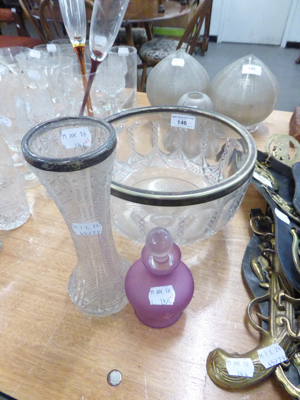 Lot 146 - A CUT GLASS WAISTED CYLINDRICAL FLOWER VASE, WITH SILVER RIM, A CUT GLASS PERFUME ATOMIZER AND A