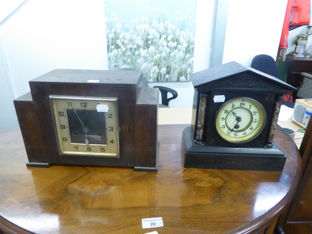 Lot 151 - A VICTORIAN MANTEL CLOCK IN BLACK SLATE ARCHITECTURAL CASE AND AN OAK CASED MANTEL CLOCK (2)