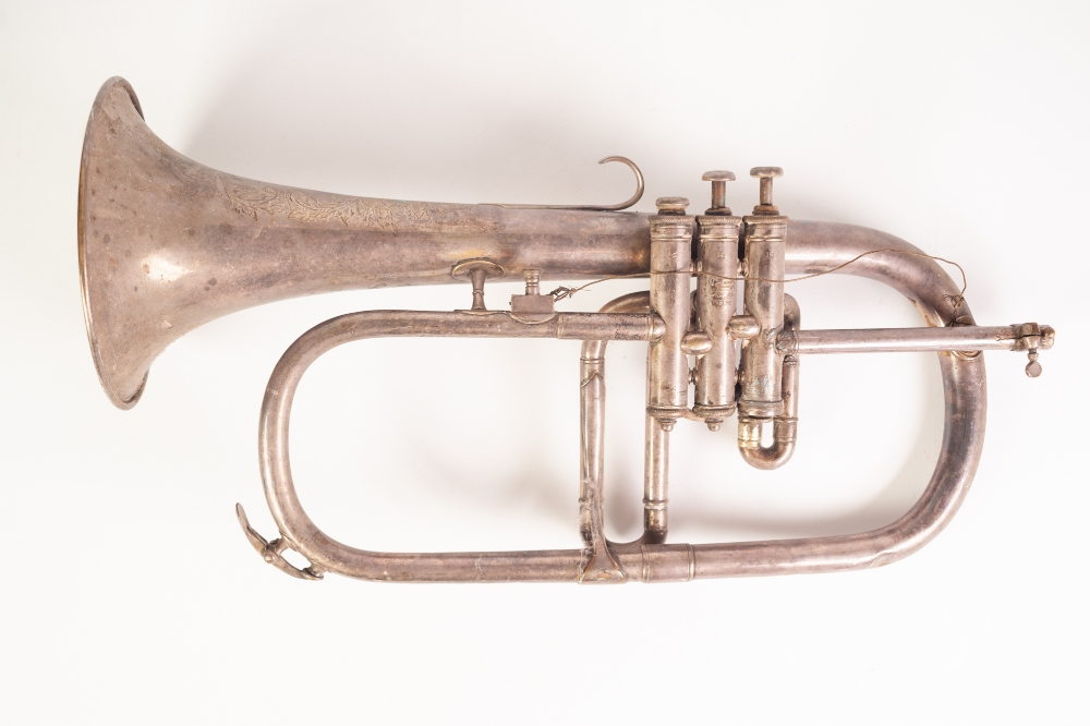 Lot 417 - A LATE VICTORIAN BOOSEY AD CO., 295 Regent Street, London ELECTROPLATED TRUMPET, numbered 89778 (a.