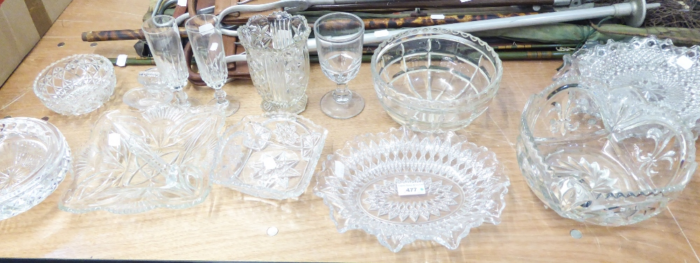 Lot 477 - LARGE WATERFORD CRYSTAL CIRCULAR ASHTRAY, PAIR OF NINETEENTH CENTURY GLASS ICE CRUSHERS AND 12