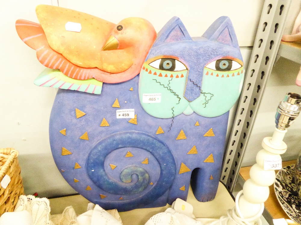 """Lot 465 - A LARGE PAINTED FIBRE GLASS ORNAMENT OF A STYLIZED CAT, WITH A BIRD SLEEPING ON ITS BACK, 20"""""""