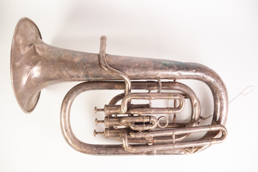 Lot 418 - A LATE VICTORIAN SALVATION ARMY CLASS 'A' ELECTROPLATED WIND INSTRUMENT, numbered 10018 (a.f.)