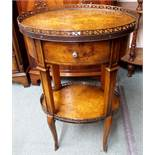 A reproduction two-tier side table and a circular hardwood occasional table (2) Condition Report: