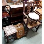 An armchair, footstool, side table, coal depot and a wall rack (5) Condition Report: Available