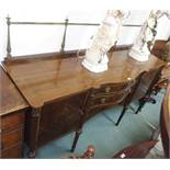 A Georgian style mahogany sideboard with brass rail Condition Report: Available upon request