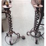 A pair of wrought iron table lamps (2) Condition Report: