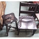 A small oak carved chair and a carved stool (def) (2) Condition Report: Available upon request