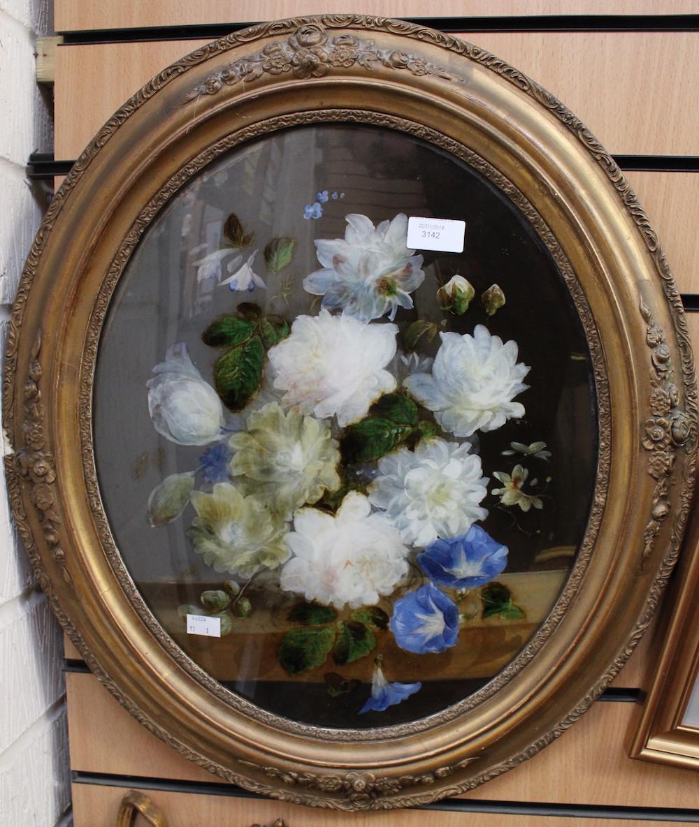 Ex Luddington Manor****Oval convex reverse painting on glass