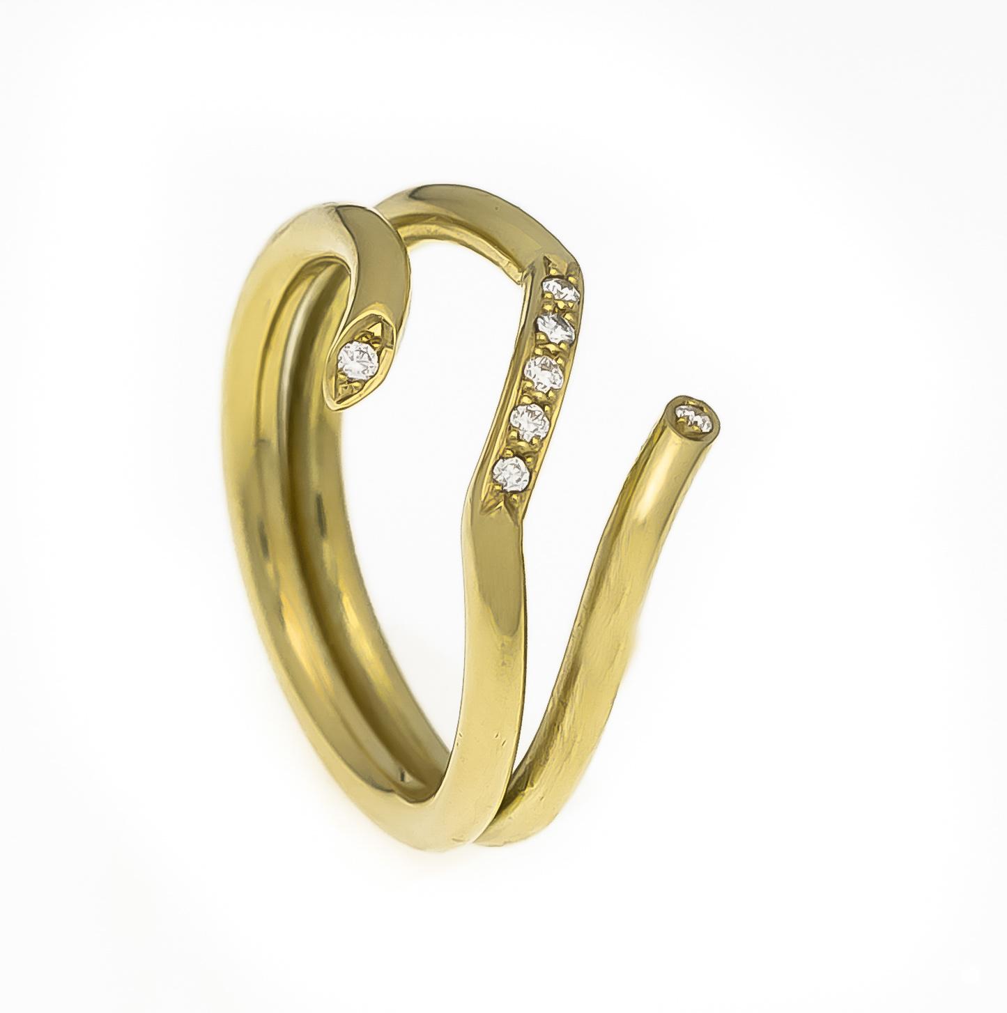 Lot 43 - Brillant-Ring GG 585/000 mit 7 Brillanten, zus. 0,11 ct W/SI, RG 63, 8,9 gBrillant ring GG 585/000
