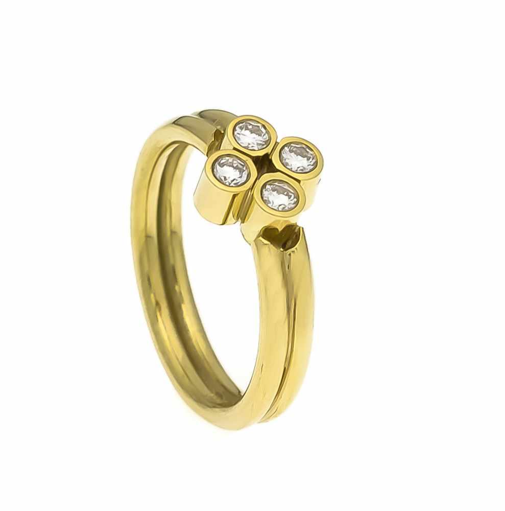Lot 42 - Brillant-Ring GG 585/000 mit 4 Brillanten, zus. 0,29 ct W/SI, RG 58, 6,7 gBrilliant ring GG 585/