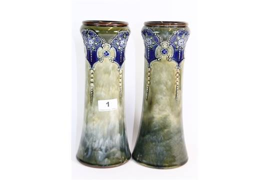 A Pair Of Royal Doulton Stoneware Vases H 28cm Artist Louisa