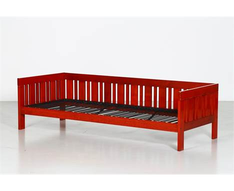 Sofa. Wood and fabric. Cm 200,00 x 57,00 x 80,00. Sofa mod. Califfo, for Poltronova, mid 60s. Red lacquered wood, missing pad