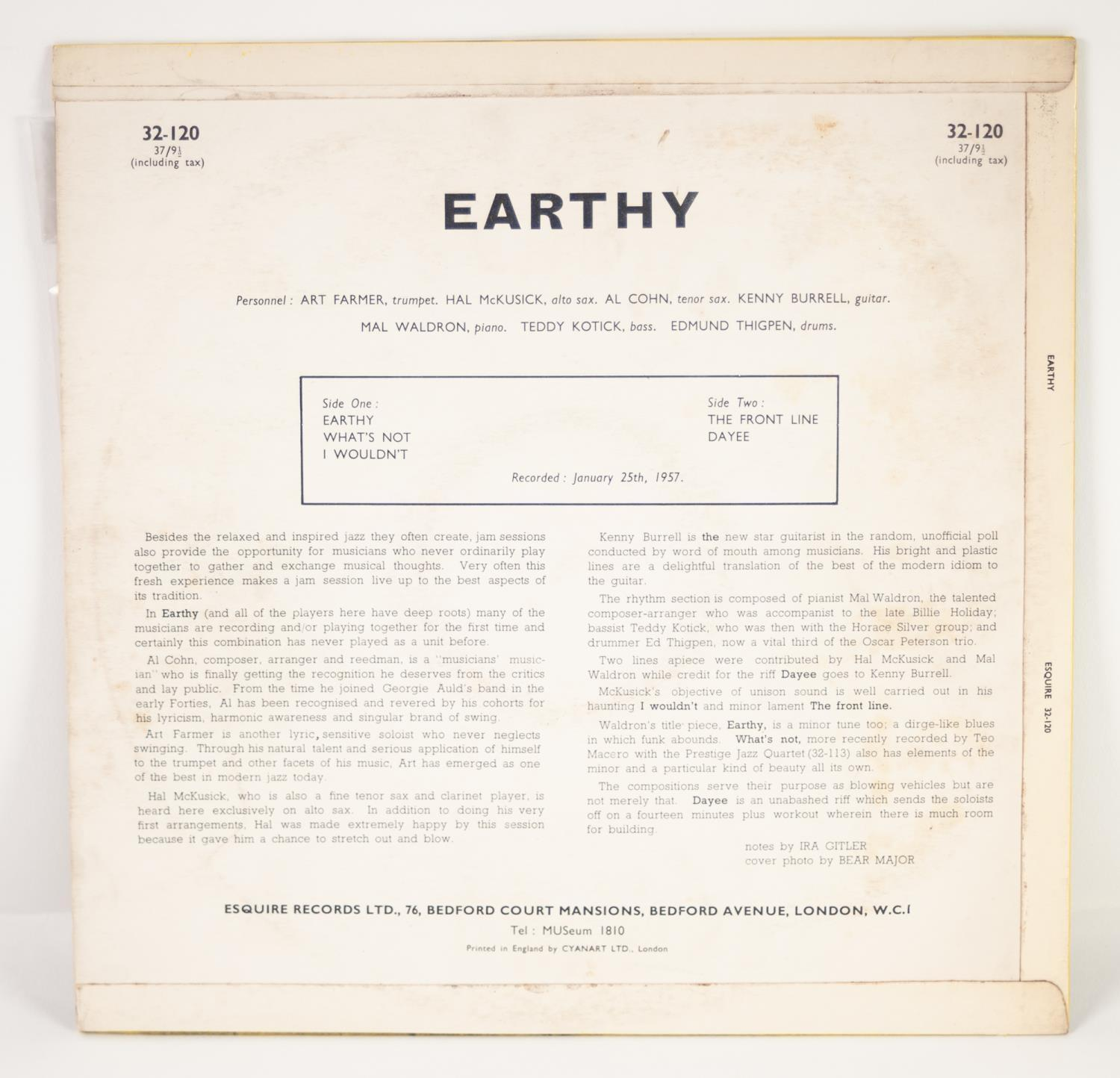 JAZZ, VINYL RECORDS- B IS FOR KENNY BURRELL-EARTHY (Prestige All Stars), Esquire (32-120). - Image 2 of 4