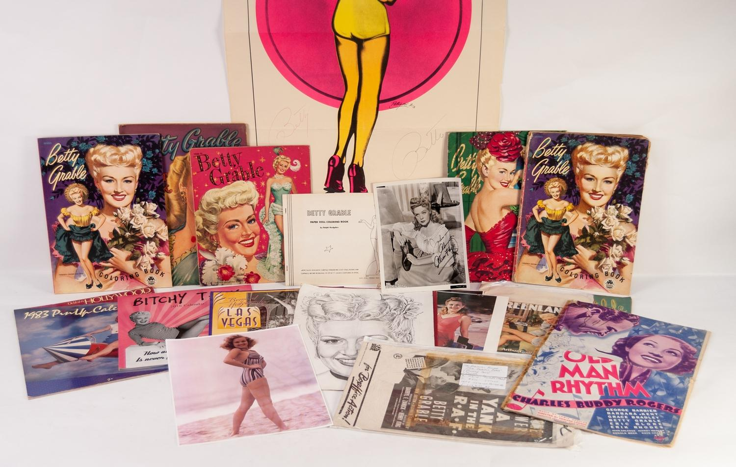 Lot 270 - BETTY GRABLE, ?WELCOME HOME BOYS? SIGNED POSTER, together with TWO PAPER DOLL BOOKS, FOUR