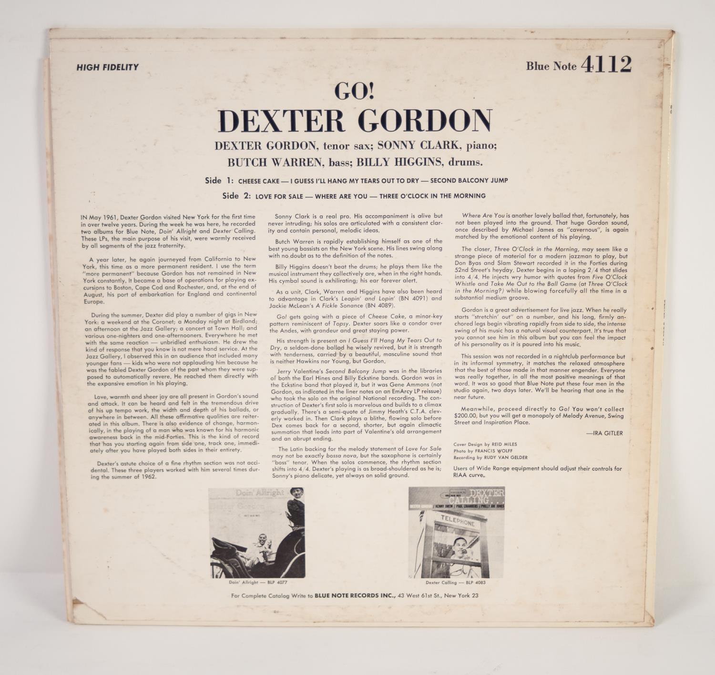 JAZZ, VINYL RECORDS-G IS FOR DEXTER GORDON- GO, with Sonny Clark, Butch Warren & Billy Higgins, BLUE - Image 2 of 4