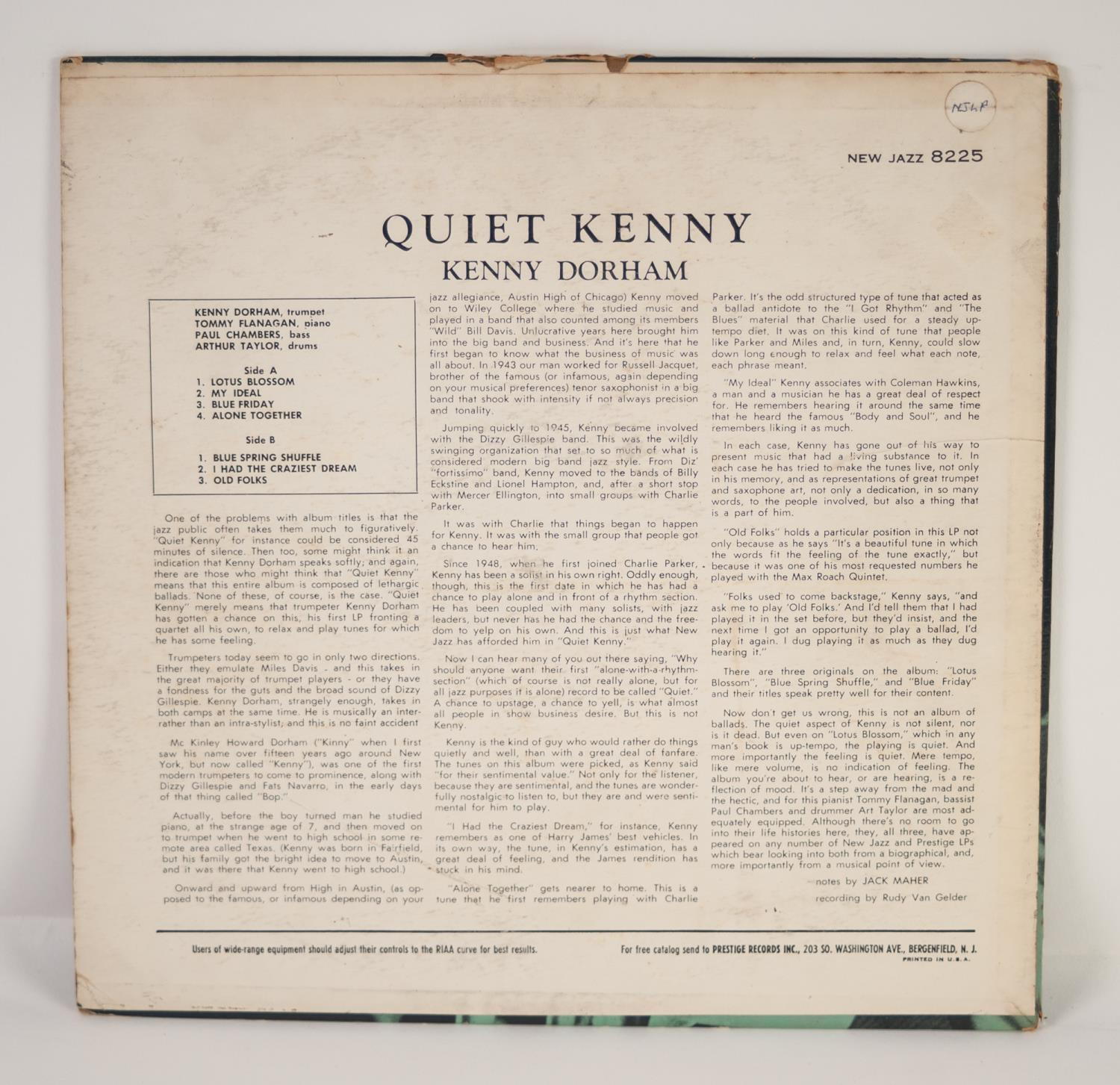 JAZZ, VINYL RECORDS- D IS FOR KENNY DORHAM-QUIET KENNY, NEW JAZZ (NJLP 8225). Original US pressing - Image 2 of 7
