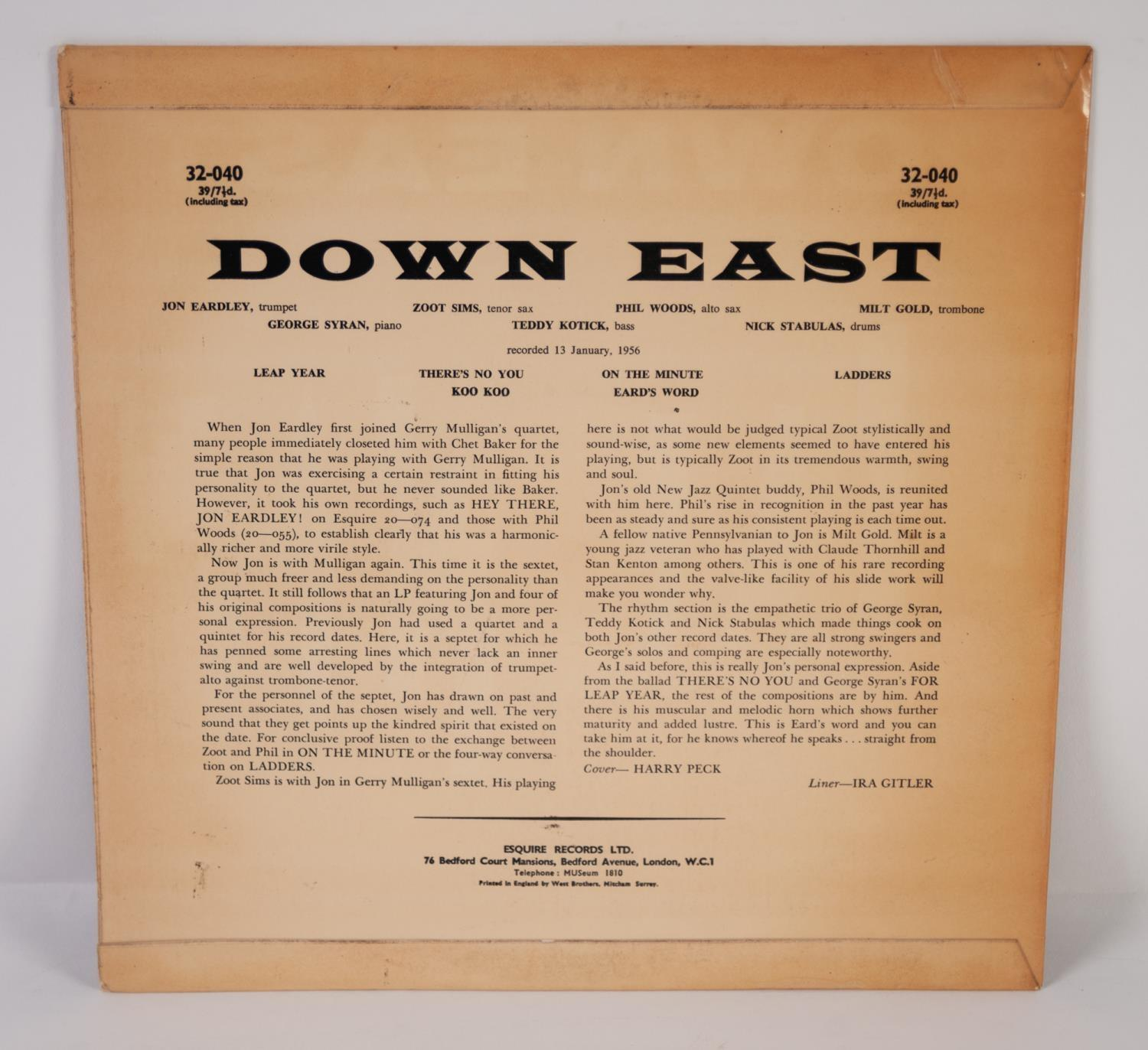 JAZZ, VINYL RECORDS- E IS FOR JON EARDLEY SEVEN-DOWN EAST, THE DOWNEST JAZZ WITH JON EARDLEY, ZOOT - Image 2 of 4