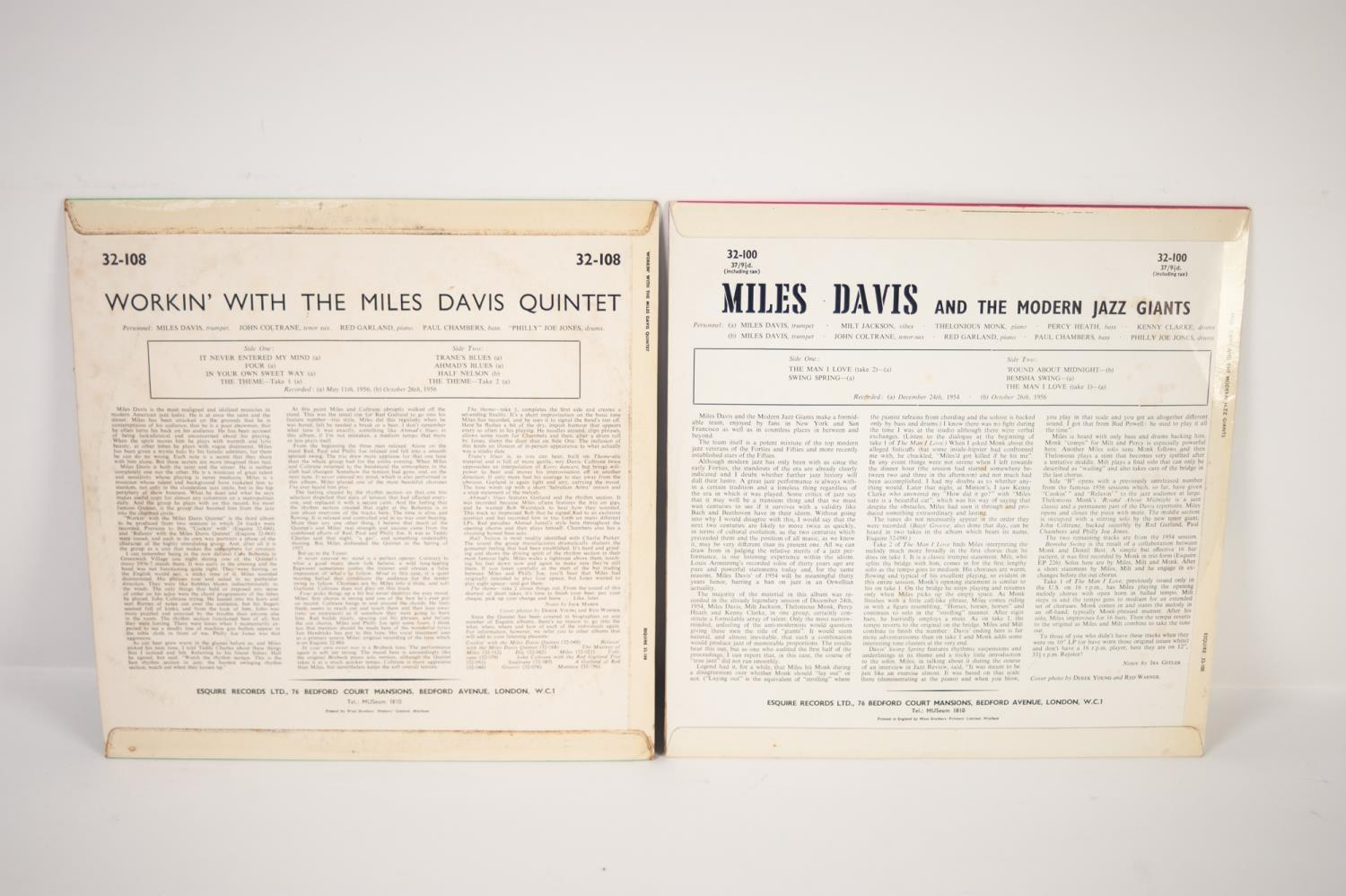 JAZZ, VINYL RECORDS- D IS FOR MILES DAVIS- WORKIN? WITH THE MILES DAVIS QUINTET, Esquire (32-108), - Image 2 of 4