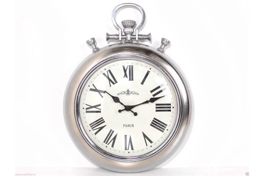 Chrome Dome Antique Style Wall Clock Pocket Watch Height