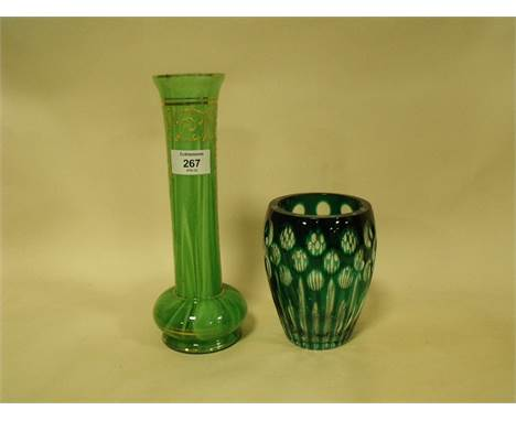A LOETZ STYLE GREEN AND GOLD GLASS VASE TOGETHER WITH A BOHEMIAN GREEN GLASS VASE