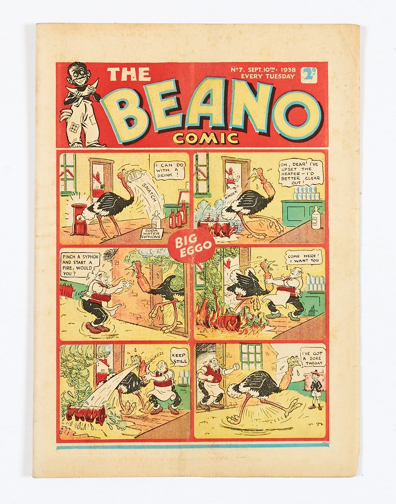 Lot 13 - Beano No 7 (1938). Only a handful of copies known to exist. Bright cover, cream pages, slight