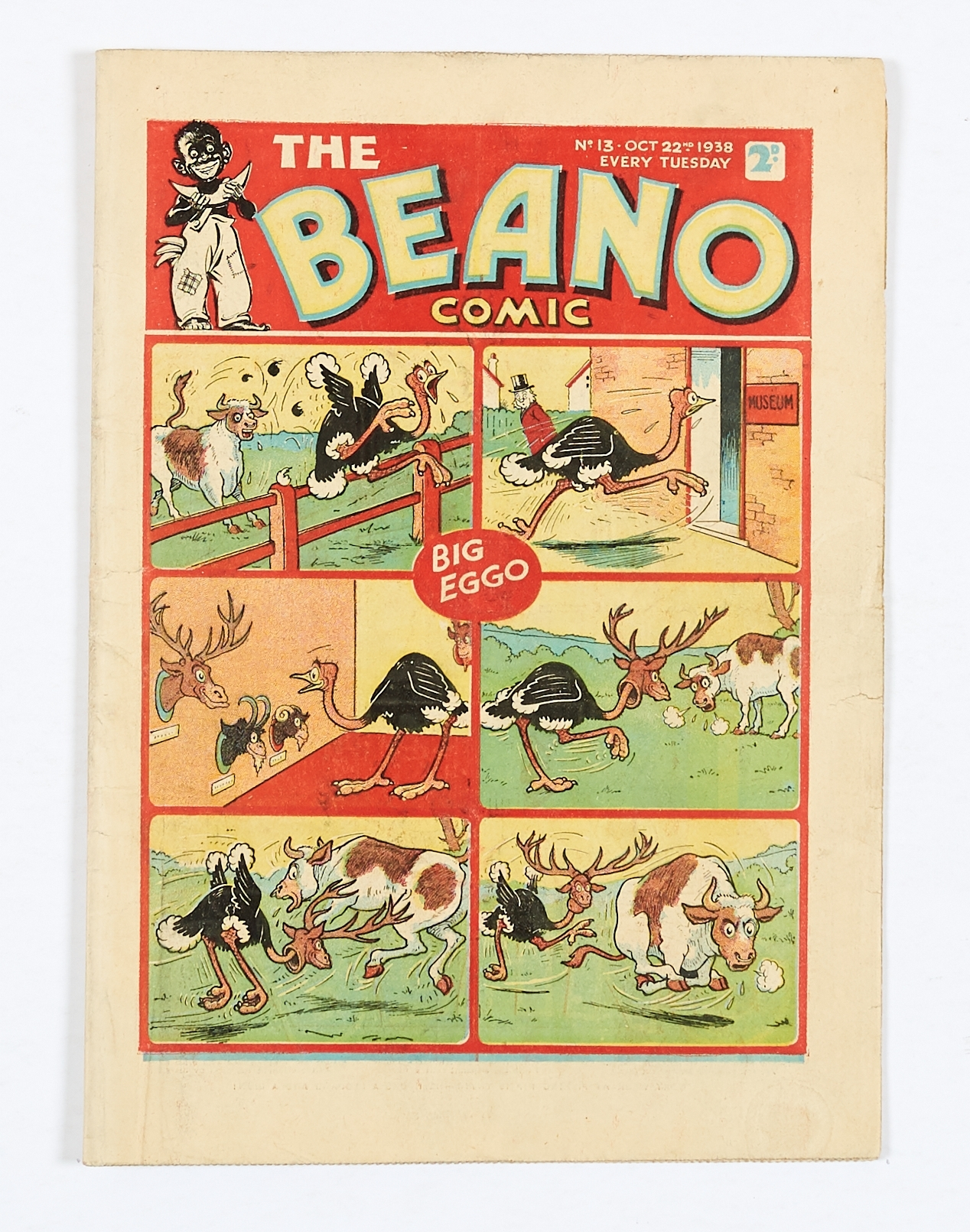 Lot 16 - Beano No 13 (1938). Bright cover, with half-inch margin tear, cream pages [vg+]