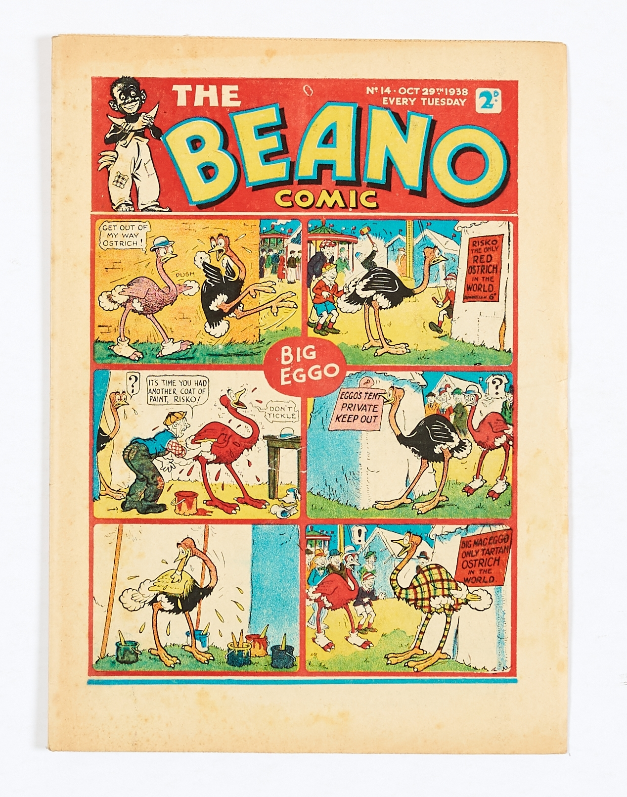Lot 17 - Beano No 14 (1938). Bright cover with one inch centre tear (underneath 'don't tickle'). Some light