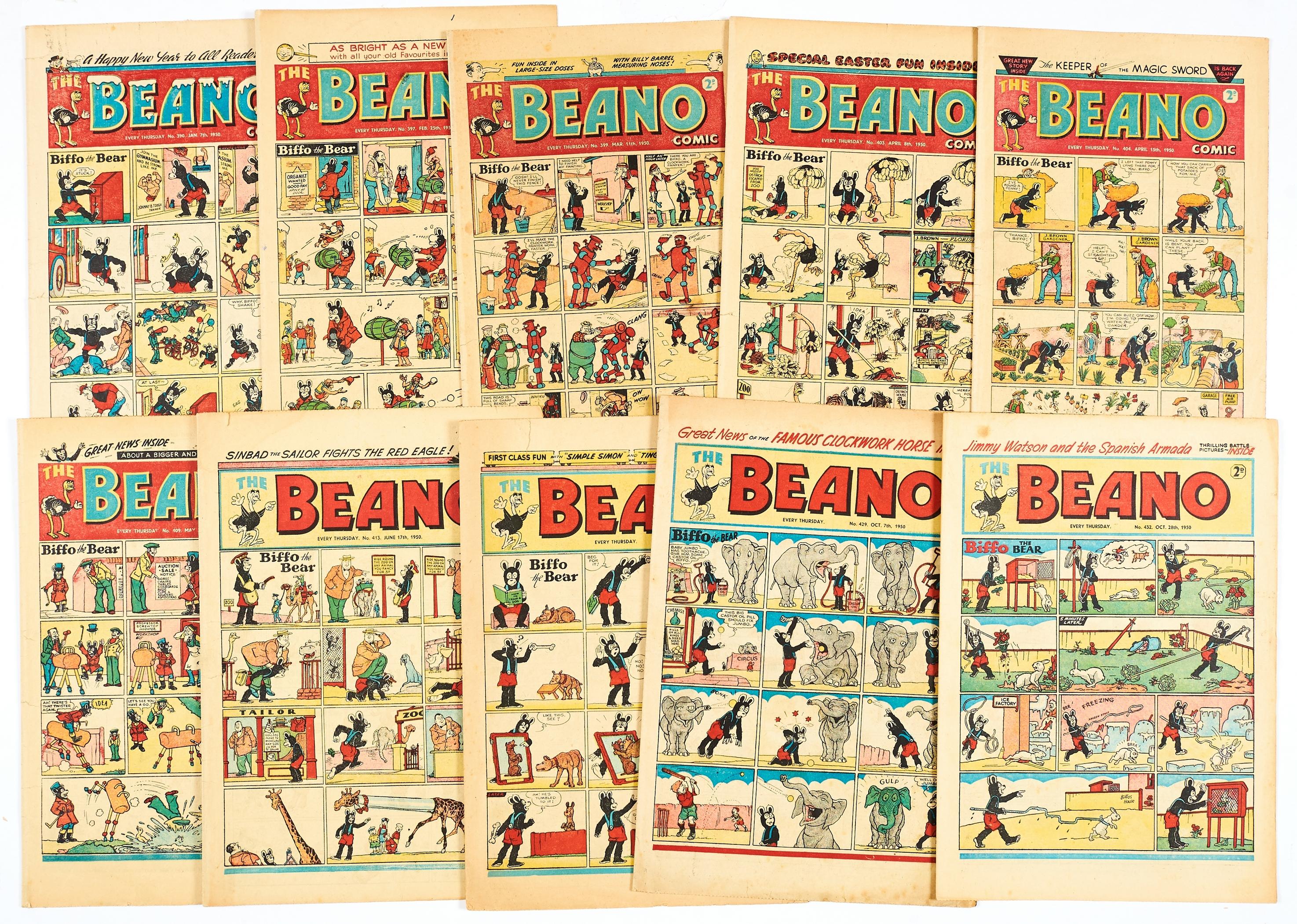 Lot 41 - Beano (1950) 390 New Year, 397, 399, 403 Easter, 404, 409, 413, 415, 429, 432 [vg/fn-] (10)