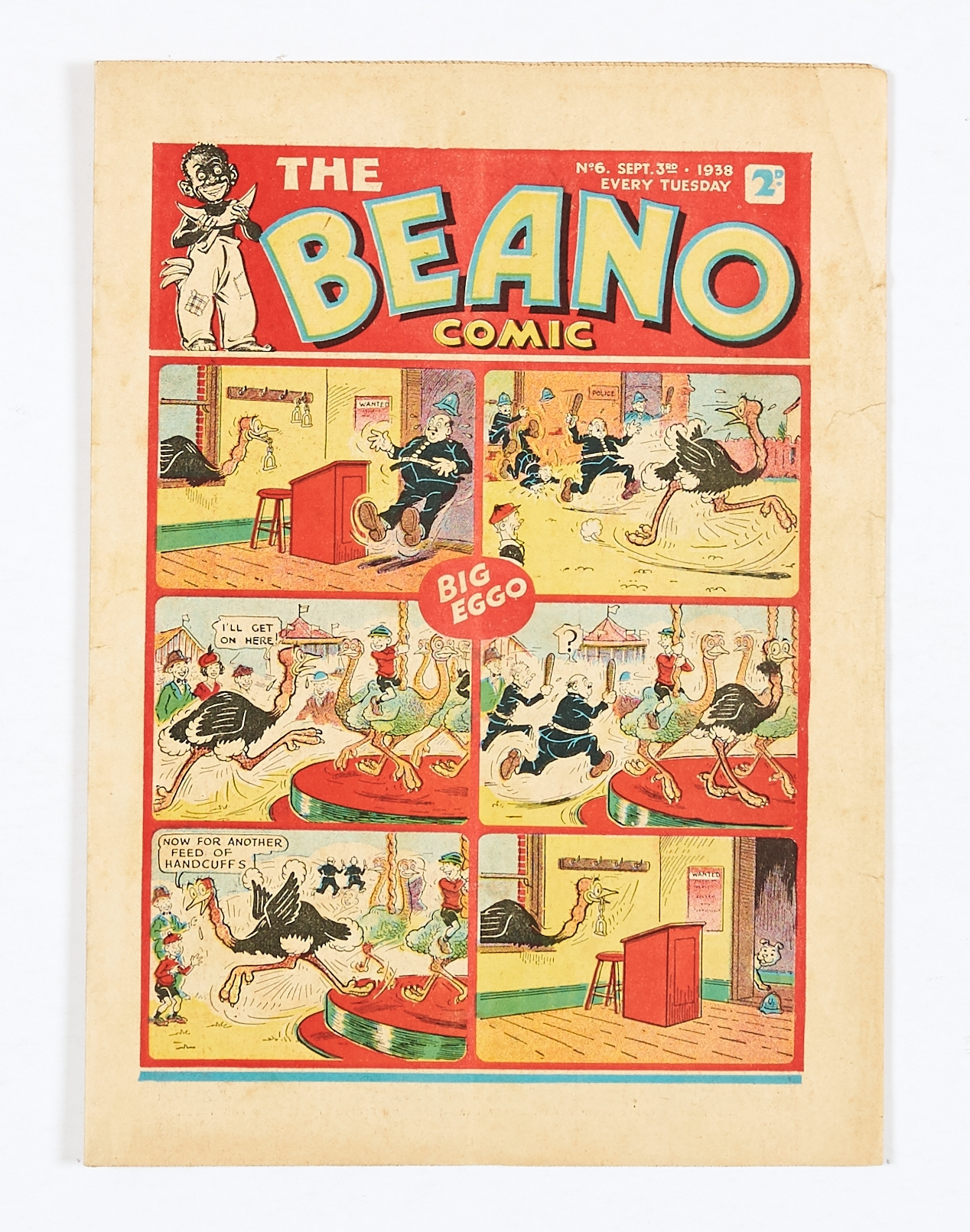 Lot 12 - Beano No 6 (1938). Only a handful of copies known to exist. Bright cover, cream pages, top RH margin