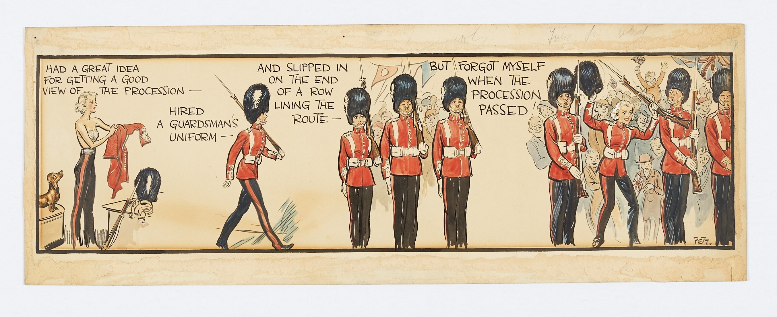 Lot 2 - Jane original colour artwork, painted and signed by Norman Pett (1937) for the Coronation Day