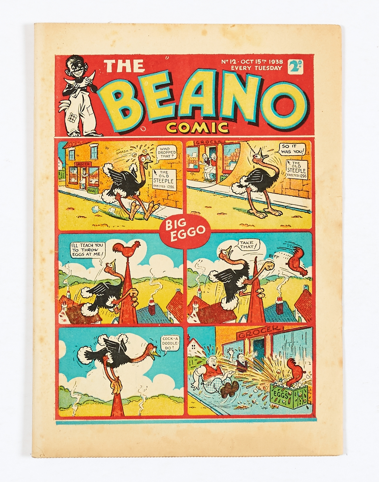 Lot 15 - Beano No 12 (1938). Bright cover with some light margin foxing spots, cream pages, scarce [vg+]