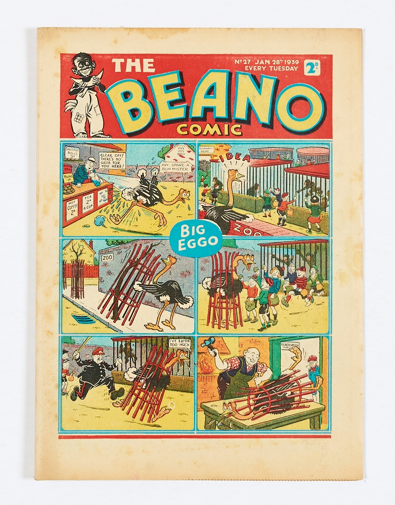 Lot 20 - Beano No 27 (1939). Bright covers, cream pages with light foxing blemishes to some page margins. 2
