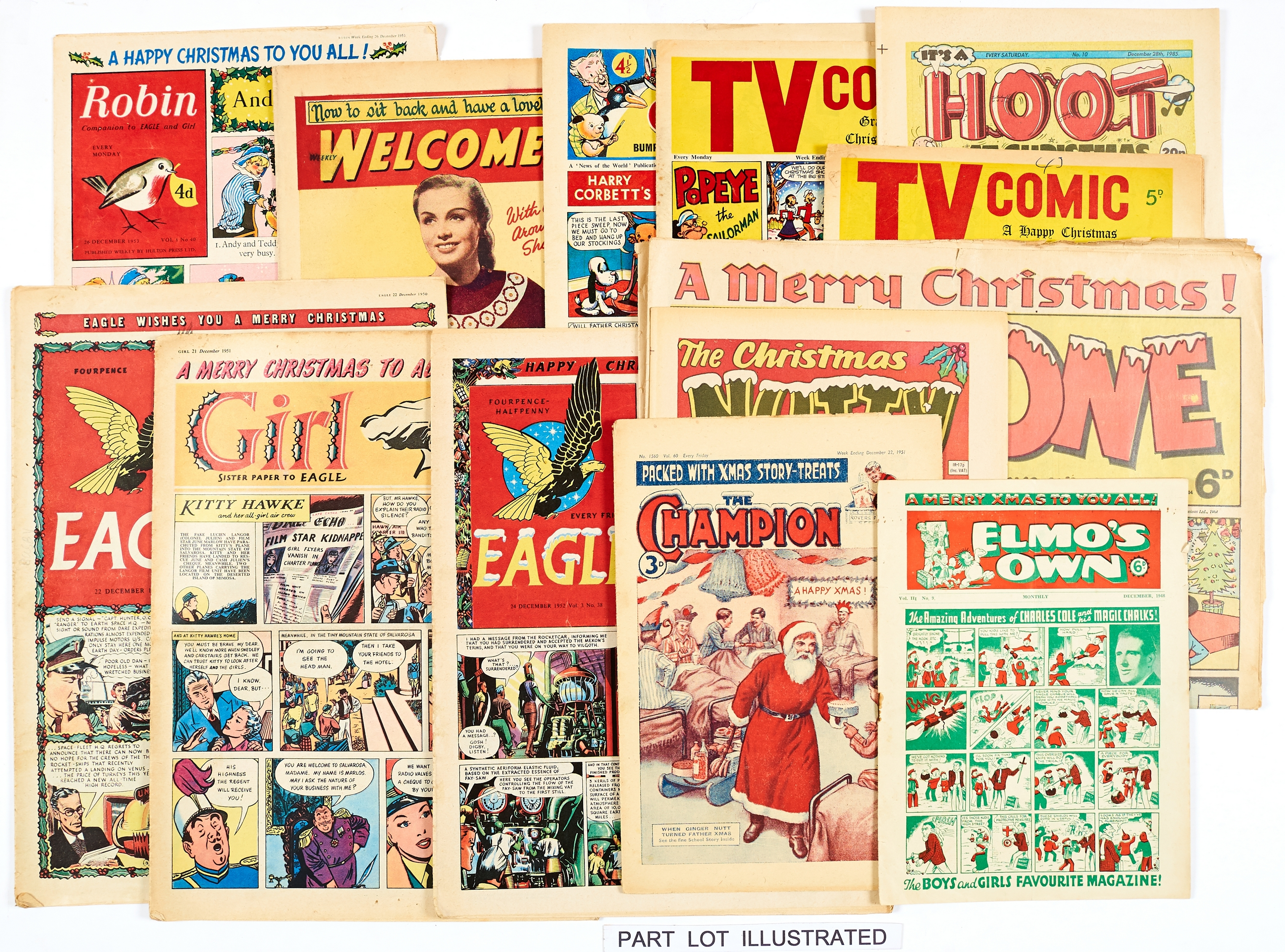 Lot 36 - Christmas issues (1940s-80s). Elmo's Own (1948), Merry Maker (1940s), Champion (1951, '52), Eagle (