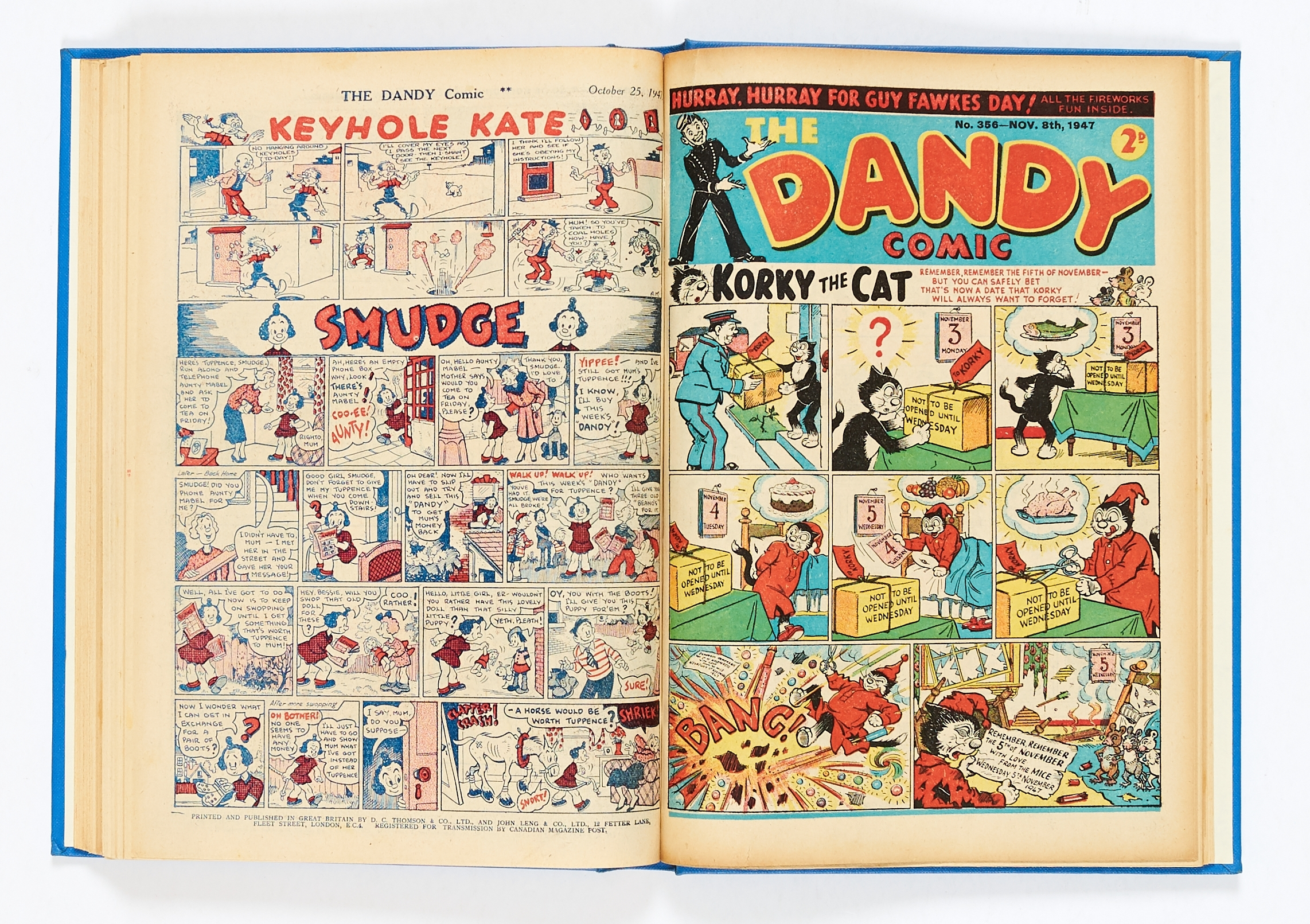 Lot 10 - Dandy (Jan 4-Dec 20 1947) 335-359. Complete year published fortnightly in bound volume. Korky,