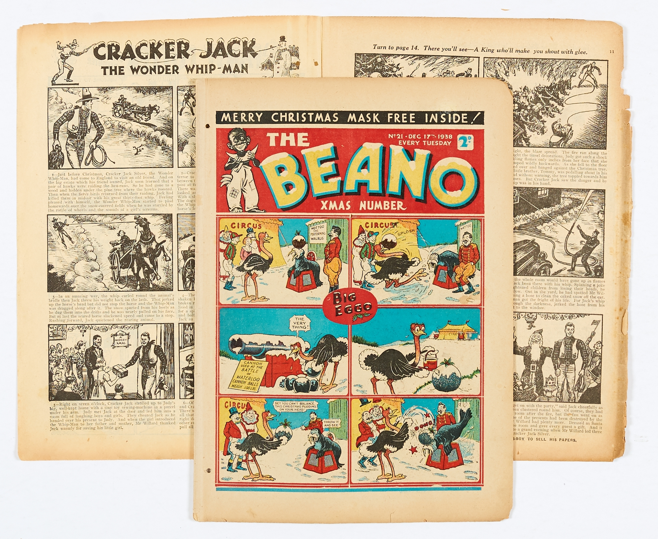 Lot 18 - Beano No 21 (1938). First Xmas Number. First Pansy Potter by Hugh McNeill. Bright cover colours, 2