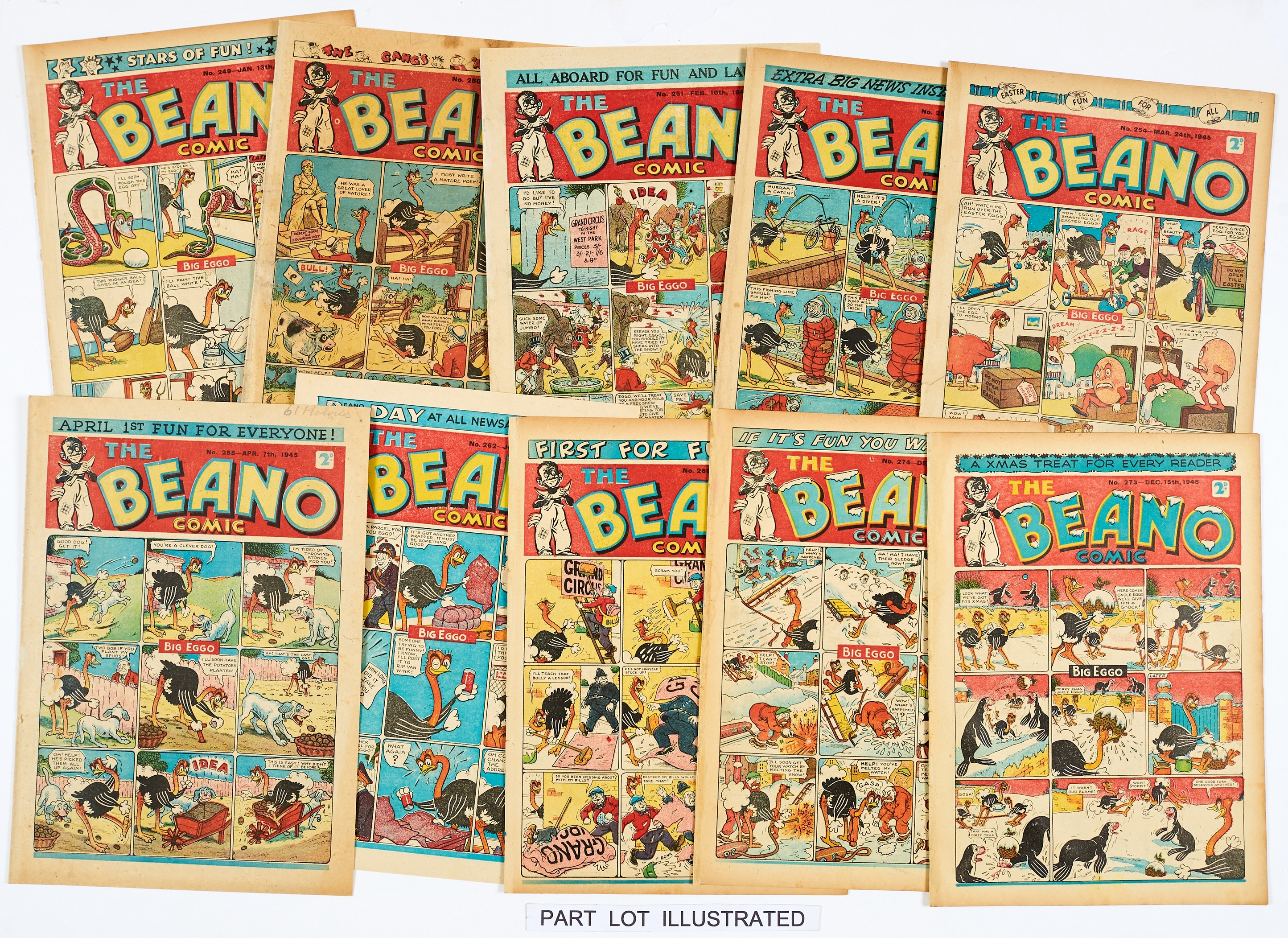Lot 26 - Beano (1945) 249-274. Complete year of propaganda war isues. All copies retrieved from bound